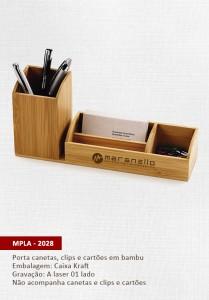 Porta canetas bambu personalizado